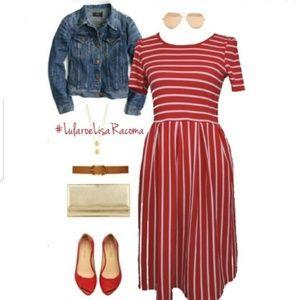 NWT LuLaRoe Amelia Red & White Striped Dress